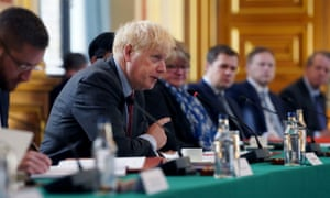Boris Johnson chairs a cabinet meeting.
