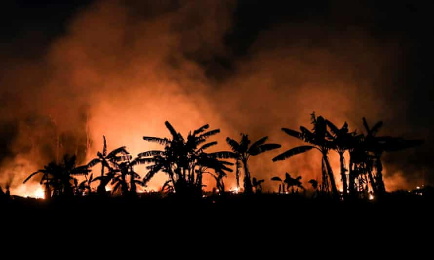 A forest fire in the town of Porto Velho, state of Rondônia, Brazil, on 9 September.