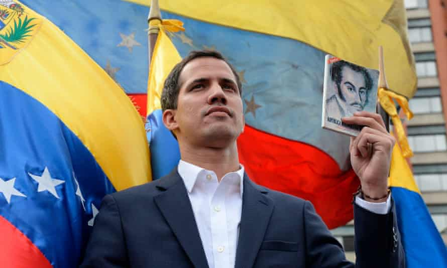 """Venezuela's National Assembly head Juan Guaido declares himself the country's """"acting president""""."""