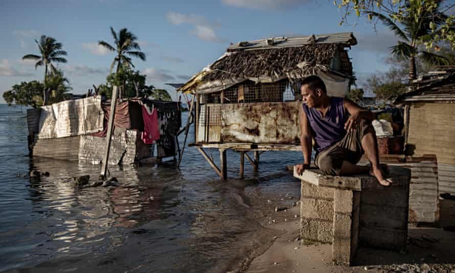 Eita settlement in Tarawa, Kiribati. The islands are under pressure from rising sea-levels, and the country's president has proposed raising the islands out of the sea to secure the nation's future.