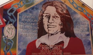 A Belfast mural of the IRA hunger-striker Bobby Sands, who died in 1981.