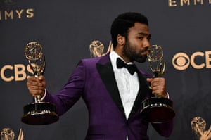 Star and creator of Atlanta, Donald Glover with his trophies for Outstanding Lead Actor in a Comedy and Outstanding directing in a comedy series