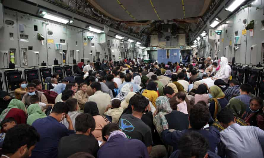 Refugees are evacuated from Hamid Karzai airport in Kabul.
