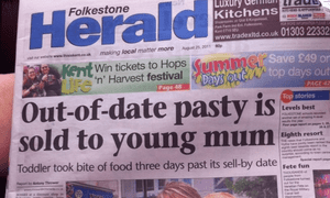 A Folkestone Herald front page report in 2011.