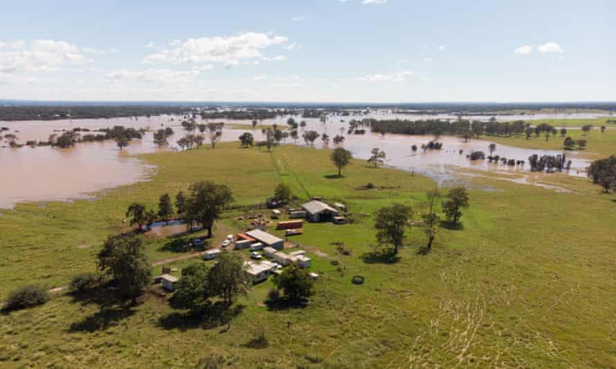 Flood waters surround a property near Marsden Park, Australia