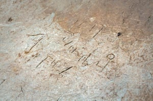 The inscribed stone uncovered at Tintagel Castle.