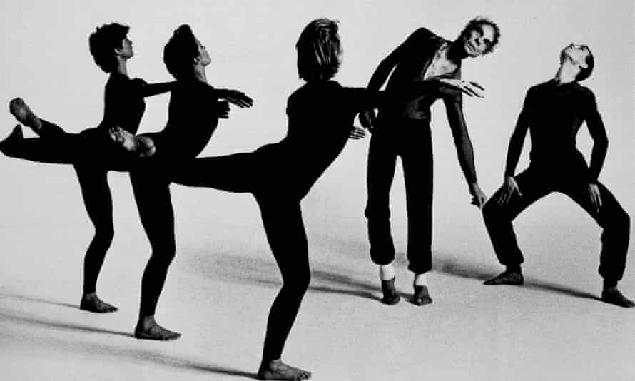 Merce Cunningham, second from right, performs in Quartet, with his company in 1986.
