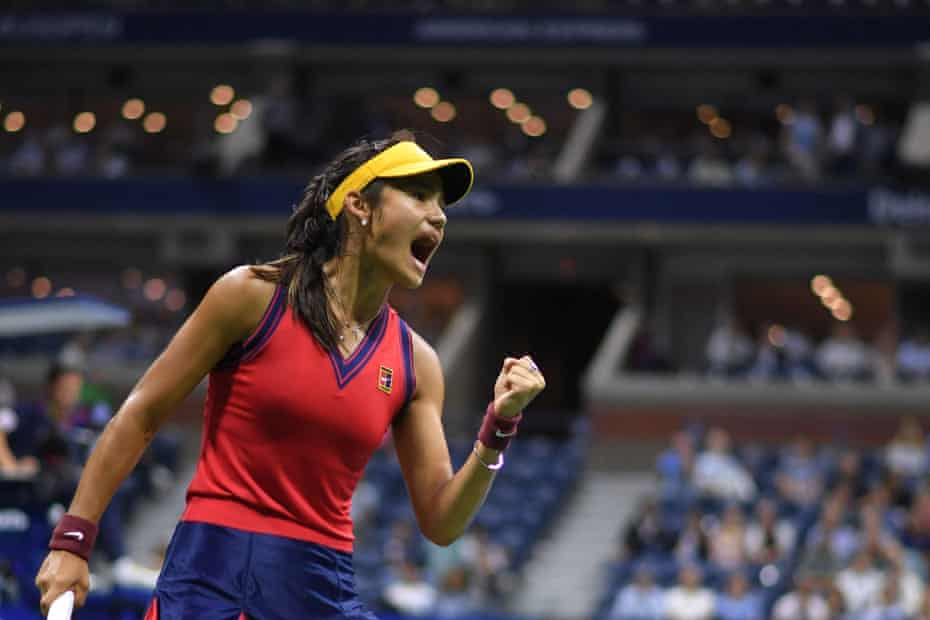 Raducanu on her way to defeating Maria Sakkari in the semi-final of the US Open at Flushing Meadows.