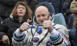 Scott Kelly gives the thumbs-up after landing near the town of Dzhezkazgan, Kazakhstan, on Wednesday, March 2