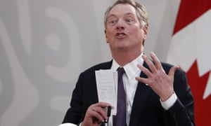 US Trade Representative Robert Lighthizer speaks during an event to sign an update to the North American Free Trade Agreement, at the national palace in Mexico City, on 10 December.