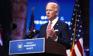 Biden on stage in Delaware on Monday. He said: 'More people may die if we don't coordinate. If we have to wait until January 20 to start that planning, it puts us behind.'