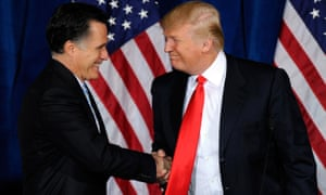 Mitt Romney and Donald Trump shake hands during a news conference held by Trump to endorse Romney for president in 2012.