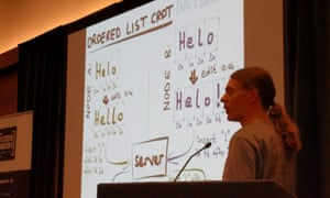 Martin Kleppmann giving his talk 'Conflict Resolution for Eventual Consistency' at Code Mesh 2016. The slide is titled 'Ordered List CRDT' and shows how unique IDs are added to each transformation.