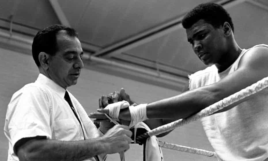 Angelo Dundee and Muhammad Ali during a training session in 1966