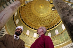 Welby with sheikh Omar al-Kiswani, director of al-Aqsa mosque, during a visit to the Dome of the Rock on the compound known to Muslims as Noble Sanctuary and to Jews as Temple Mount.