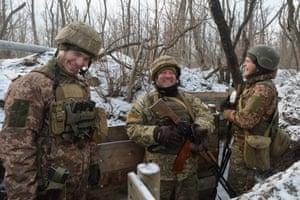 Avdiivka, Ukraine Ukrainian servicemen share a joke while standing at frontline with Russian-backed separatist rebels in Donetsk Region