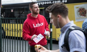 A volunteer for Tim Murray, Labor's candidate for Wentworth, at Bondi Junction railway station.