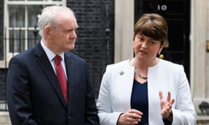 Deputy first minister of Northern Ireland Martin McGuinness and first minister of Northern Ireland Arlene Foster speak to journalists after a meeting between Theresa May and the leaders of the three devolved governments.