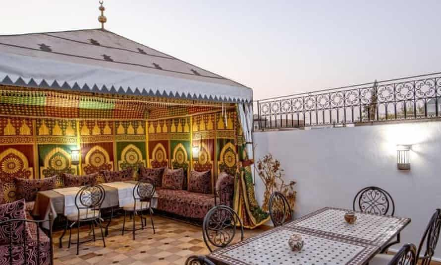 Rooftop restaurant at Amour d'Auberge hostel, Marrakech, Morocco.