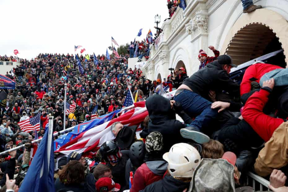 Pro-Trump protesters storm into the U.S. Capitol during clashes with police, during a rally to contest the certification of the 2020 U.S. presidential election results by the U.S. Congress, in Washington, U.S, January 6, 2021.