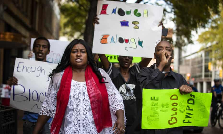 Protesters demonstrate against the killing of Atatiana Jefferson, on Tuesday 15 October.