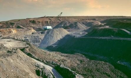 A former opencast coal mine at East Chevington, near Druridge Bay in the 1990s