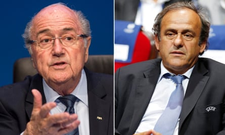 Michel Platini (right) had been favourite to succeed Sepp Blatter (left) before both were provisionally suspended.