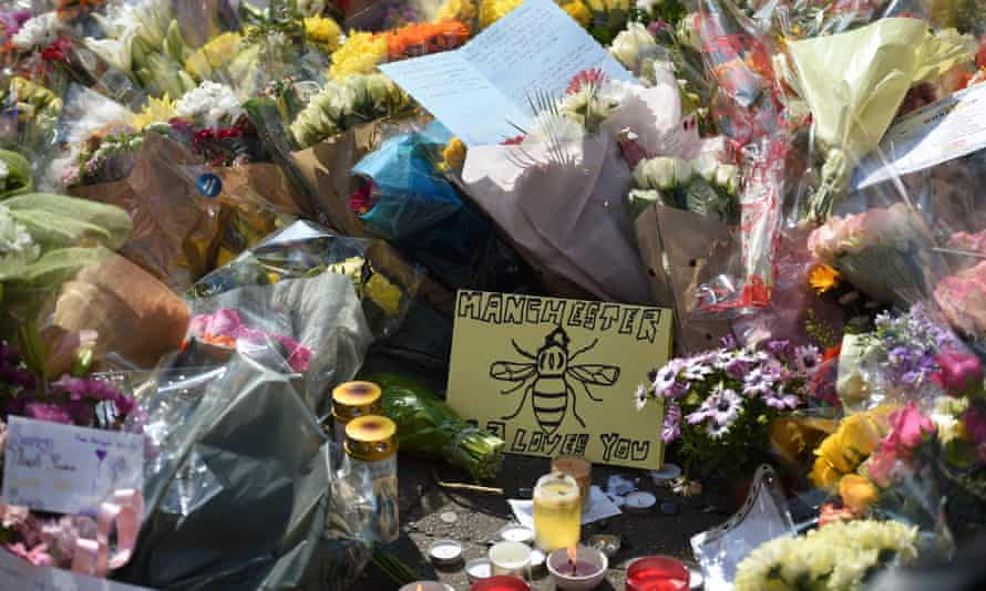 Flowers and messages of support  in St Ann's Square, Manchester, after 2017 terror attack.