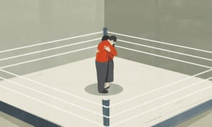 Illustration of couple hugging in middle of a boxing ring