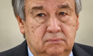 UN Secretary-General Antonio Guterres looks on at the opening of the UN Human Rights Council's main annual session on 24 February 2020 in Geneva.