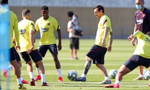 Lionel Messi and Barcelona players back in training on Friday.