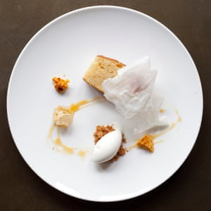 Buttermilk sponge with honeycomb and milk ice-cream.