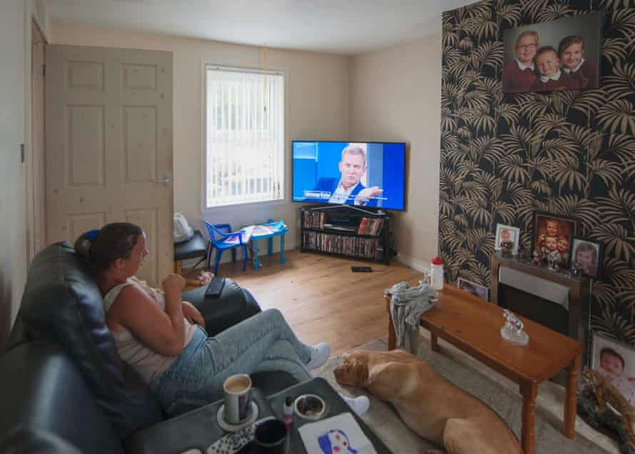 Katrina watching Jeremy Kyle, Aspatria, Cumbria. July 2018