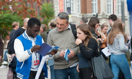 Prospective students and their parents at the University of Liverpool's open day.