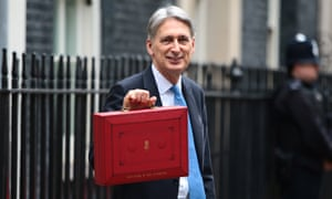 Hammond holds the red case before heading to Parliament to deliver the budget