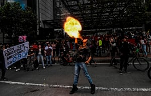 Bogota, Colombia A student breathes fire during a protest for Dilan Cruz, a young demonstrator who died after being injured at an anti-government protest