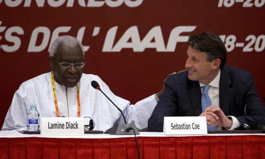 The IAAF's Sebastian Coe and Lamine Diack