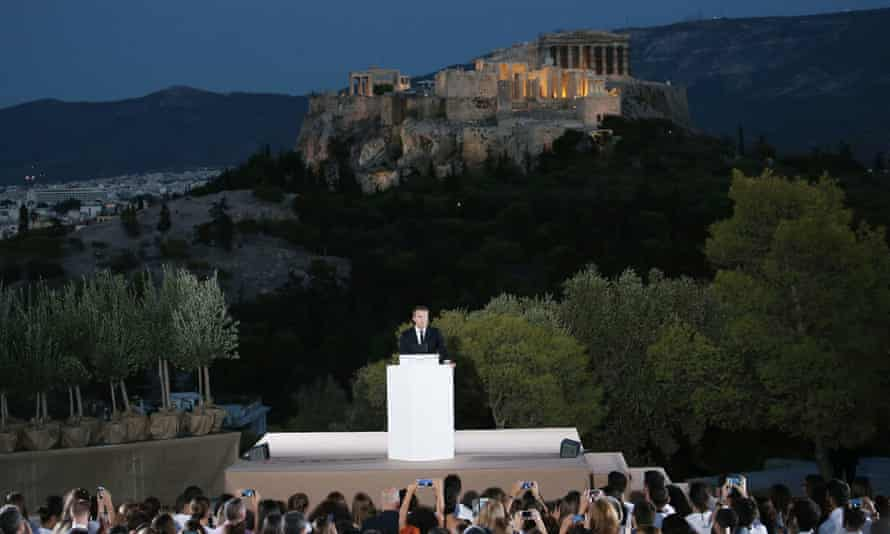 Macron giving a speech on the Pnyx in Athens in September.