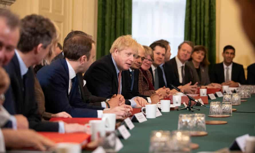 Boris Johnson holding his first Cabinet meeting following the Tory party's general election victory
