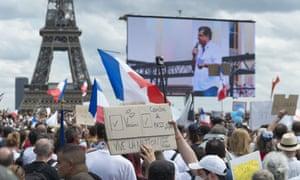 Rally against the vaccine passport in Paris