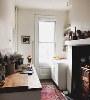 A threadbare Persian rug adds a lived-in look to the NYC-based food writer and photographer's homely kitchen. @yossyarefi
