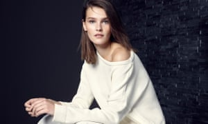M&S autumn fashion showcase includes the alluring white off-the-shoulder sweater with side-tie detailing.