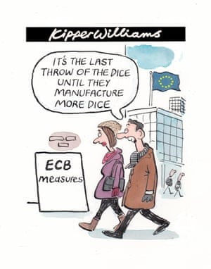 European Central Bank throws kitchen sink of stimulus measures at eurozone.