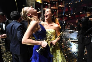 Los Angeles, US: Oscar winners Brie Larson and Alicia Vikander celebrate
