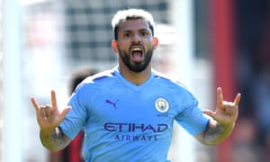Sergio Agüero celebrates scoring Manchester City's third goal, his second, of their 3-1 win at Bournemouth