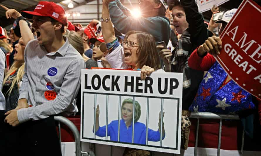 A Trump supporter with a 'Lock her up' sign at at campaign rally in Leesburg, Virginia in November 2016. Trump continues to complain about Hillary Clinton on TV and in interviews.