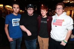 Michael Moore with high school shooting survivors