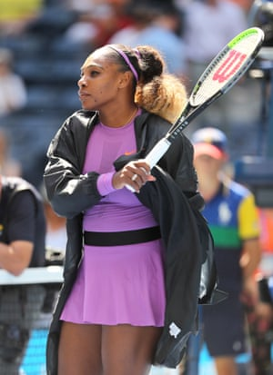 Serena Williams warms up.