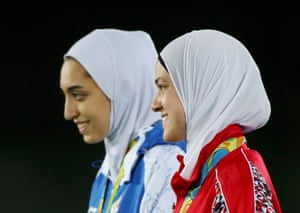 Hedaya Malak and Kimia Alizadeh with their bronze medals.