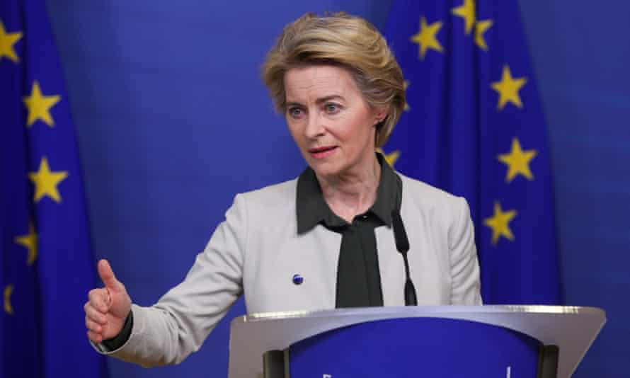 EC president Ursula von der Leyen delivers a statement on the European Green Deal in Brussels.